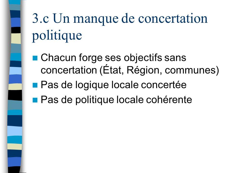 3.c Un manque de concertation politique