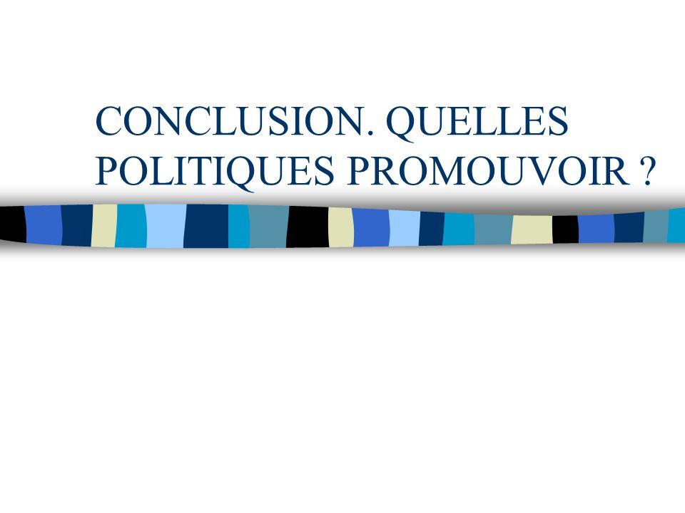 CONCLUSION. QUELLES POLITIQUES PROMOUVOIR