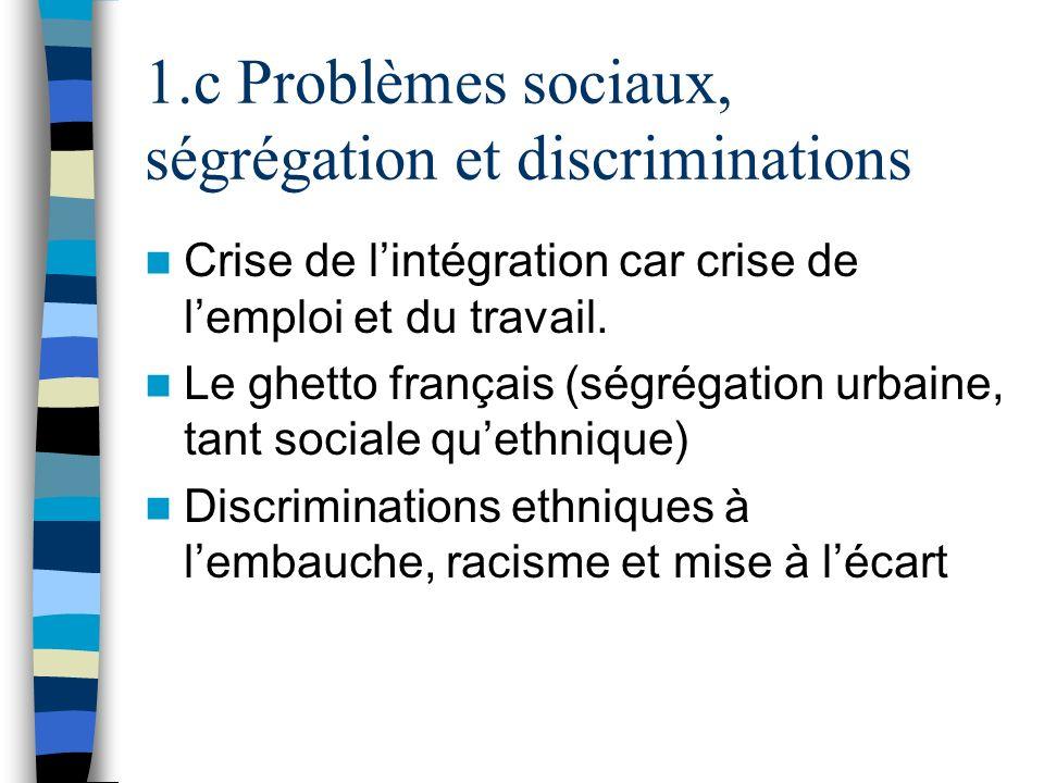 1.c Problèmes sociaux, ségrégation et discriminations