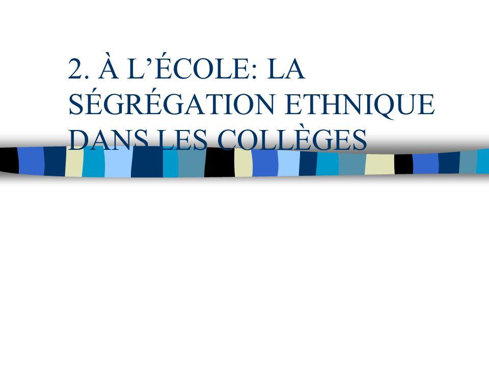 2. À L'ÉCOLE: LA SÉGRÉGATION ETHNIQUE DANS LES COLLÈGES