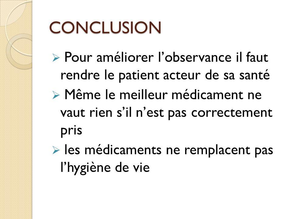 CONCLUSION Pour améliorer l'observance il faut rendre le patient acteur de sa santé.