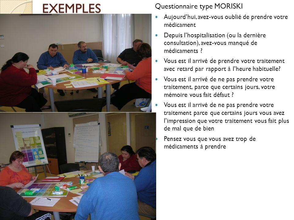 EXEMPLES Questionnaire type MORISKI