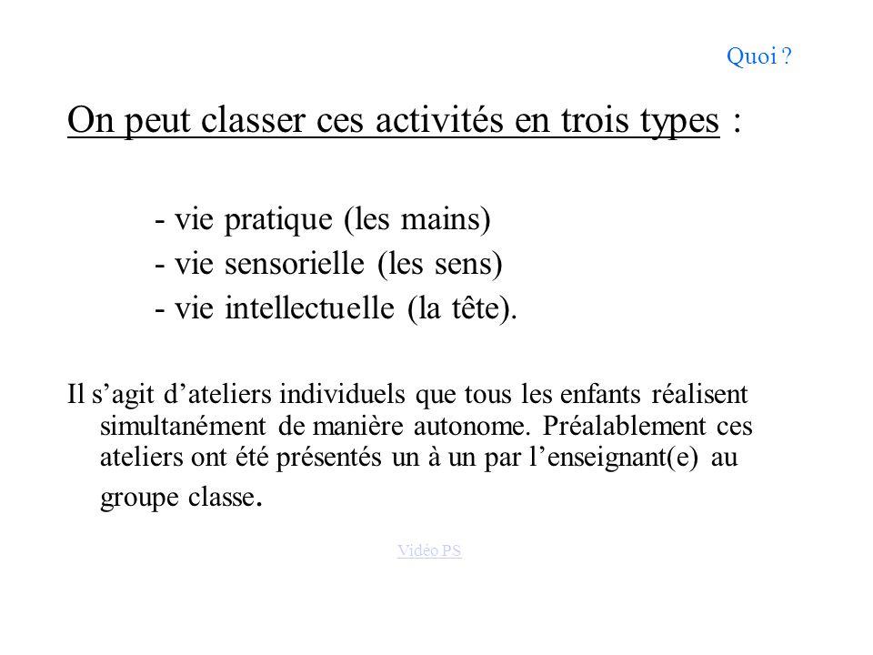On peut classer ces activités en trois types :