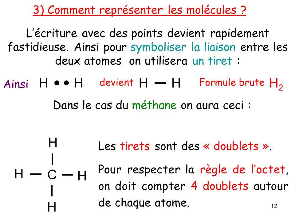 H H2 C H 3) Comment représenter les molécules