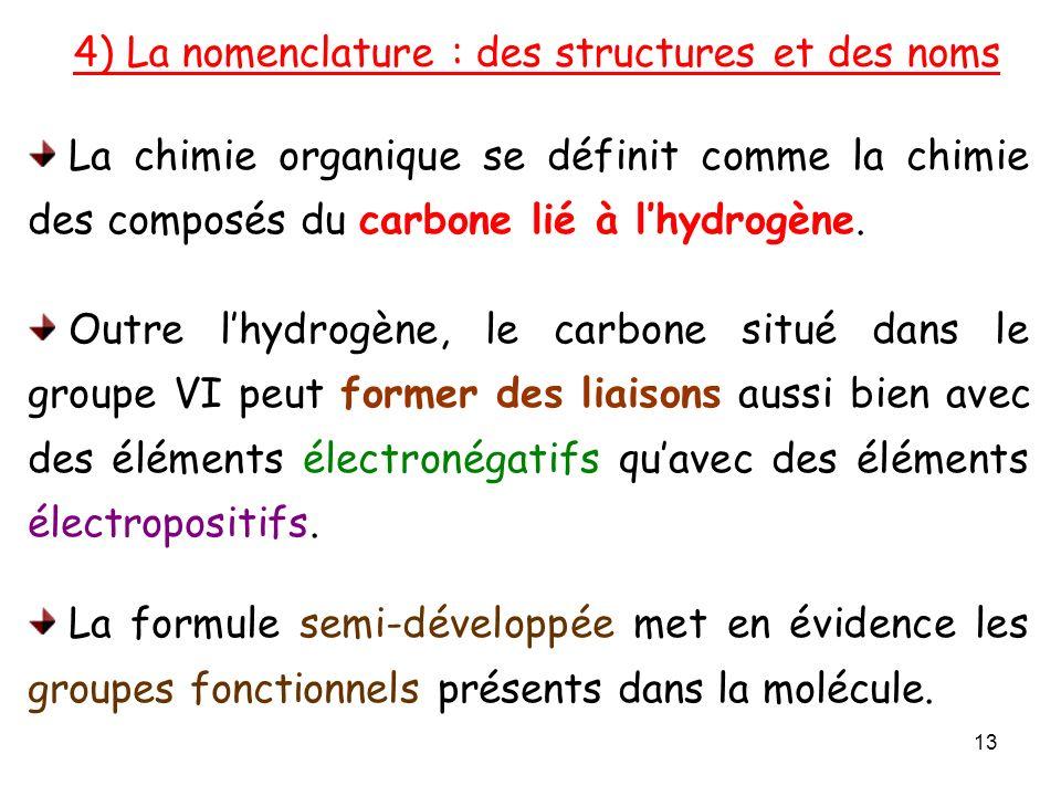 4) La nomenclature : des structures et des noms