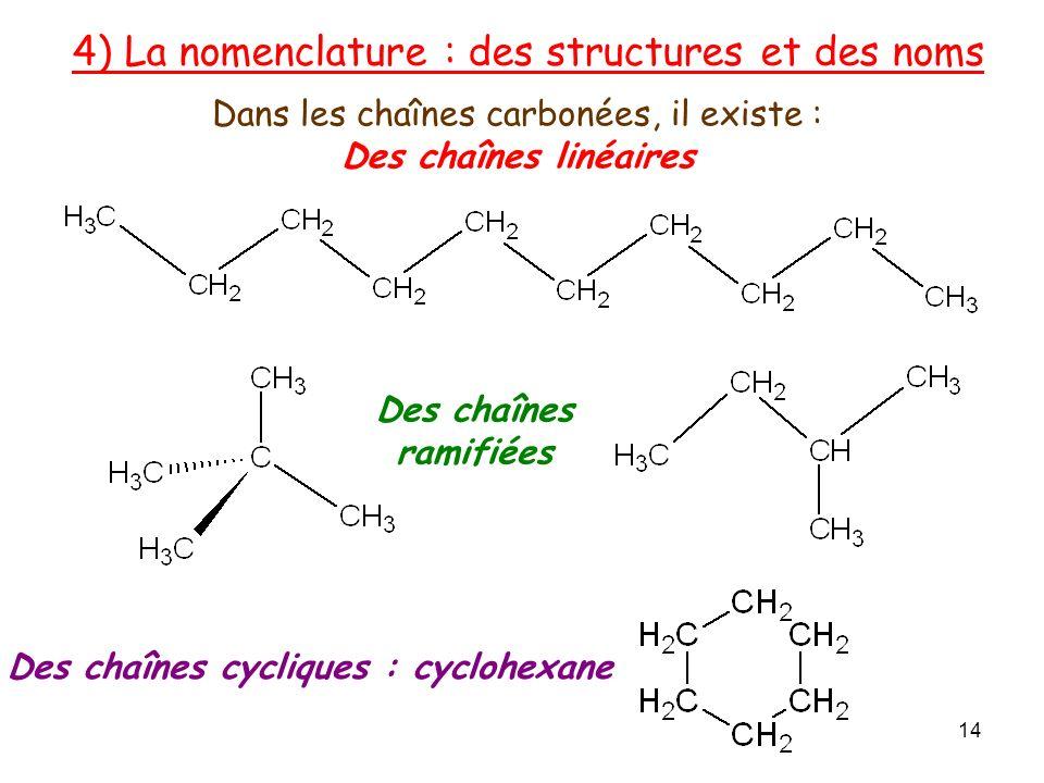 Dans les chaînes carbonées, il existe :