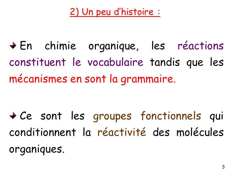 2) Un peu d'histoire : En chimie organique, les réactions constituent le vocabulaire tandis que les mécanismes en sont la grammaire.