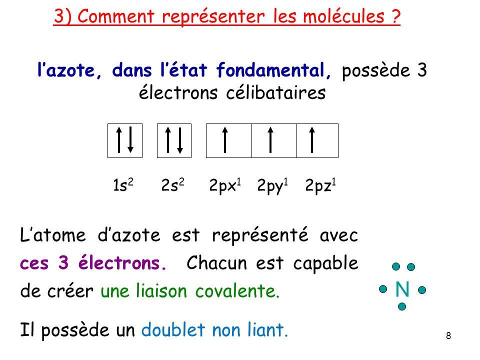 l'azote, dans l'état fondamental, possède 3 électrons célibataires