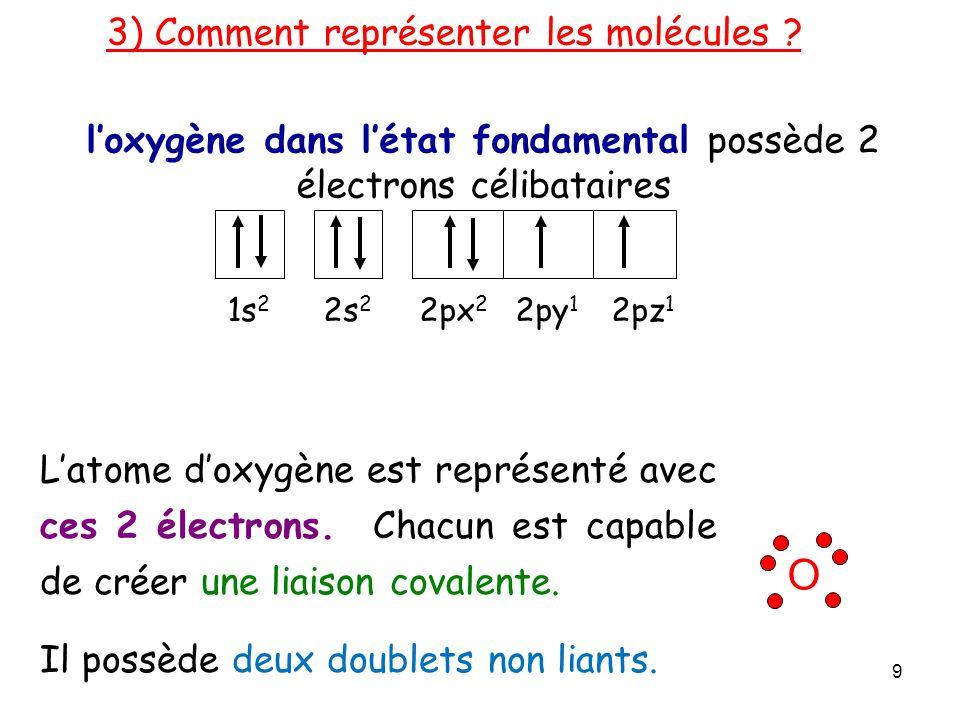 l'oxygène dans l'état fondamental possède 2 électrons célibataires