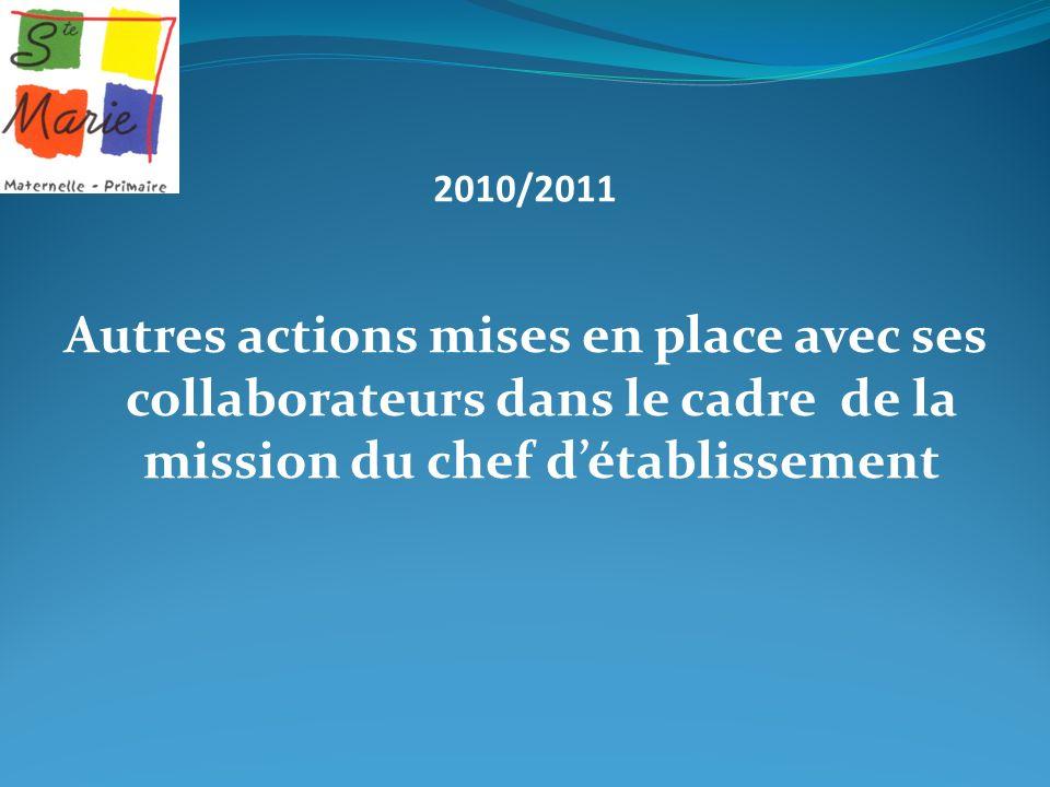 2010/2011 Autres actions mises en place avec ses collaborateurs dans le cadre de la mission du chef d'établissement.