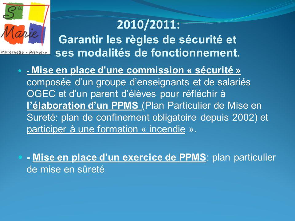 2010/2011: Garantir les règles de sécurité et ses modalités de fonctionnement.