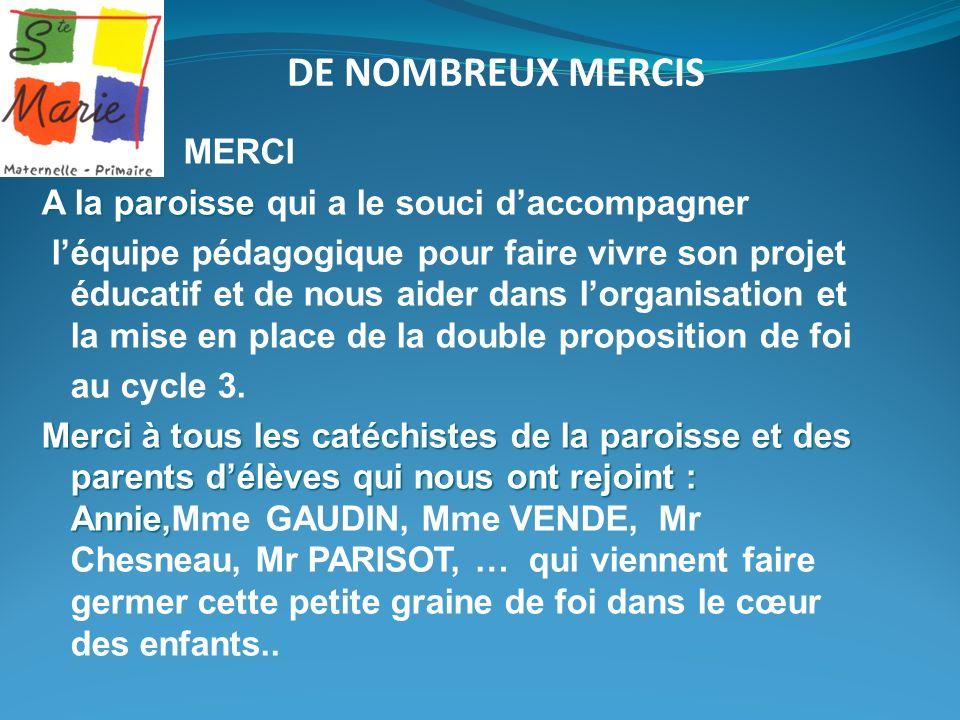 DE NOMBREUX MERCIS