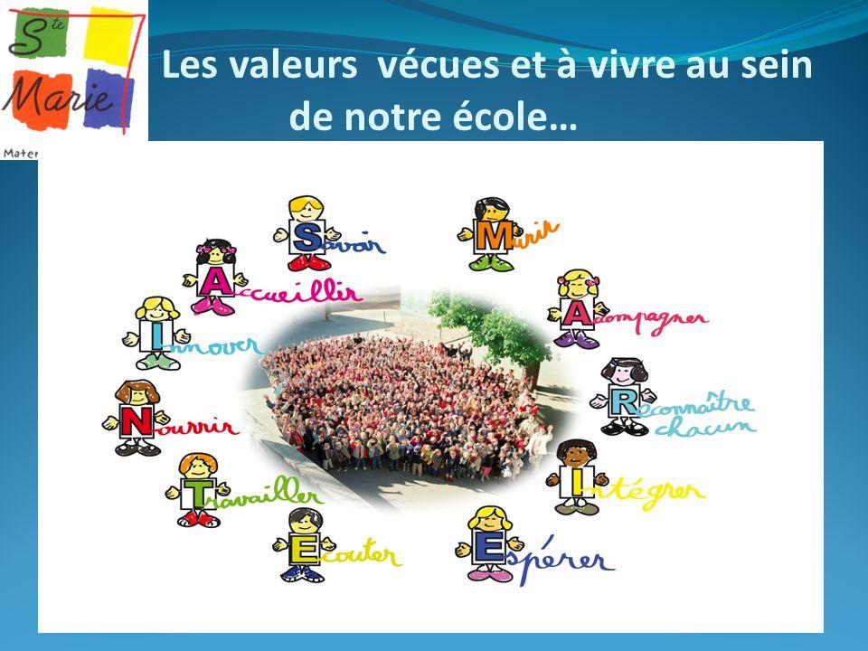 Les valeurs vécues et à vivre au sein de notre école…
