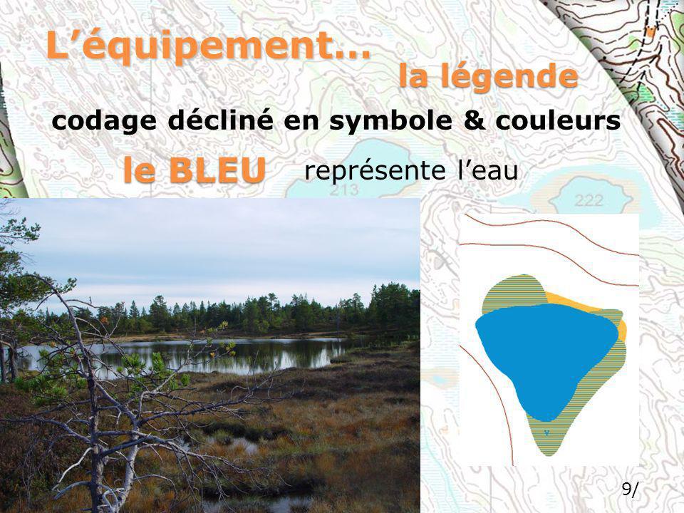 L'équipement… le BLEU la légende codage décliné en symbole & couleurs
