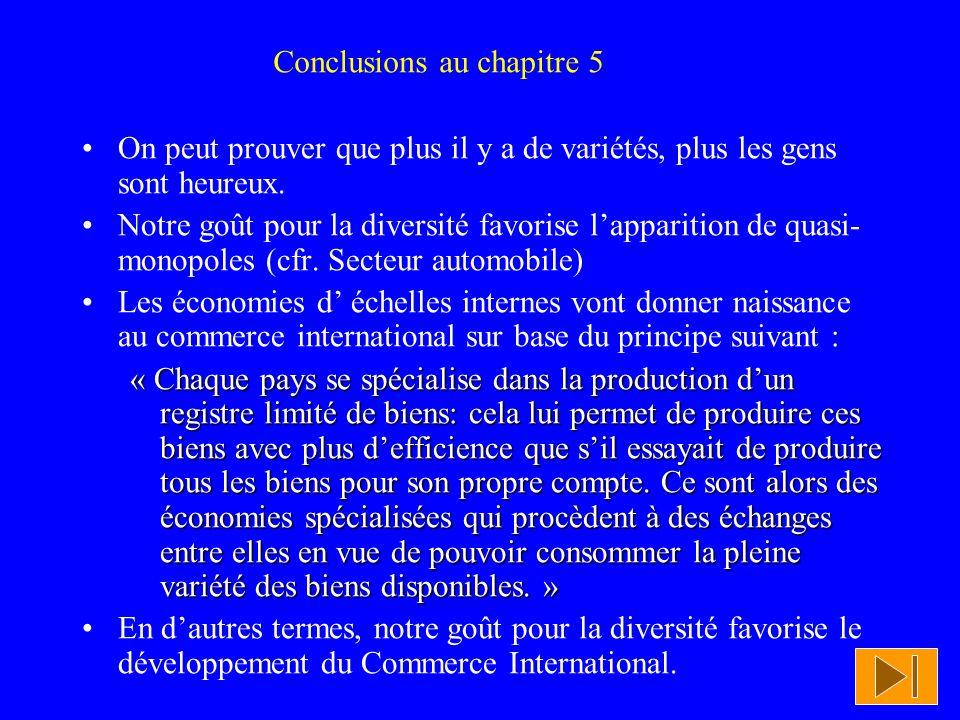 Conclusions au chapitre 5
