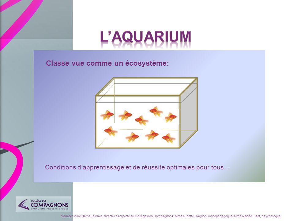 L'aquarium Classe vue comme un écosystème: