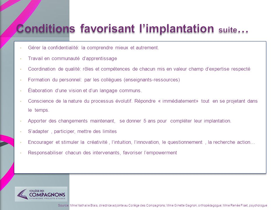 Conditions favorisant l'implantation suite…