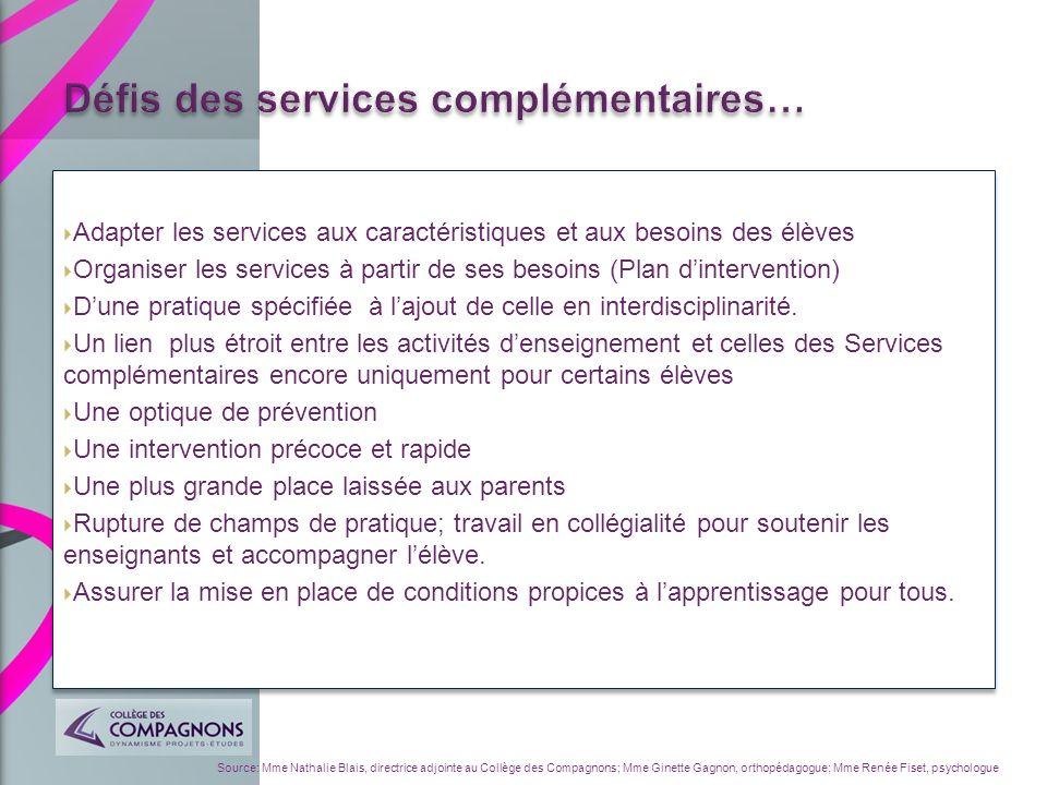 Défis des services complémentaires…