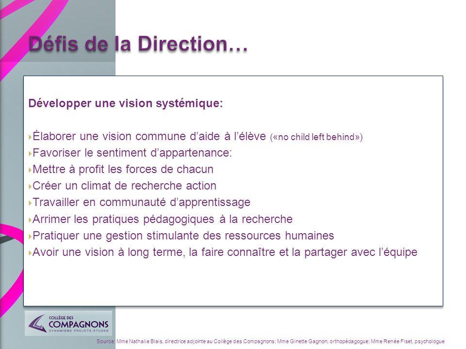 Défis de la Direction… Développer une vision systémique: