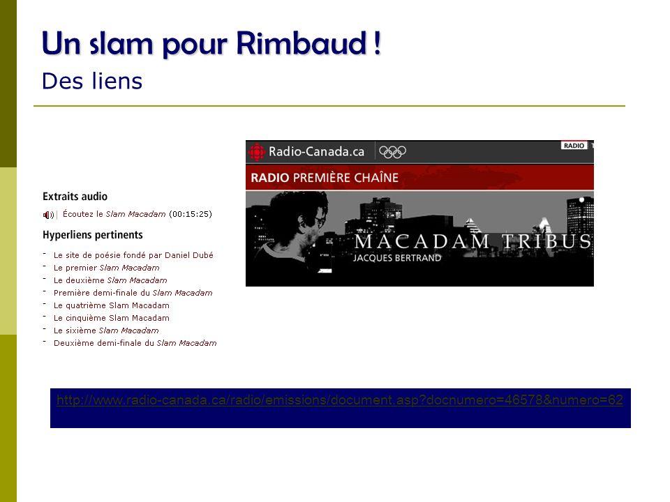 Un slam pour Rimbaud ! Des liens