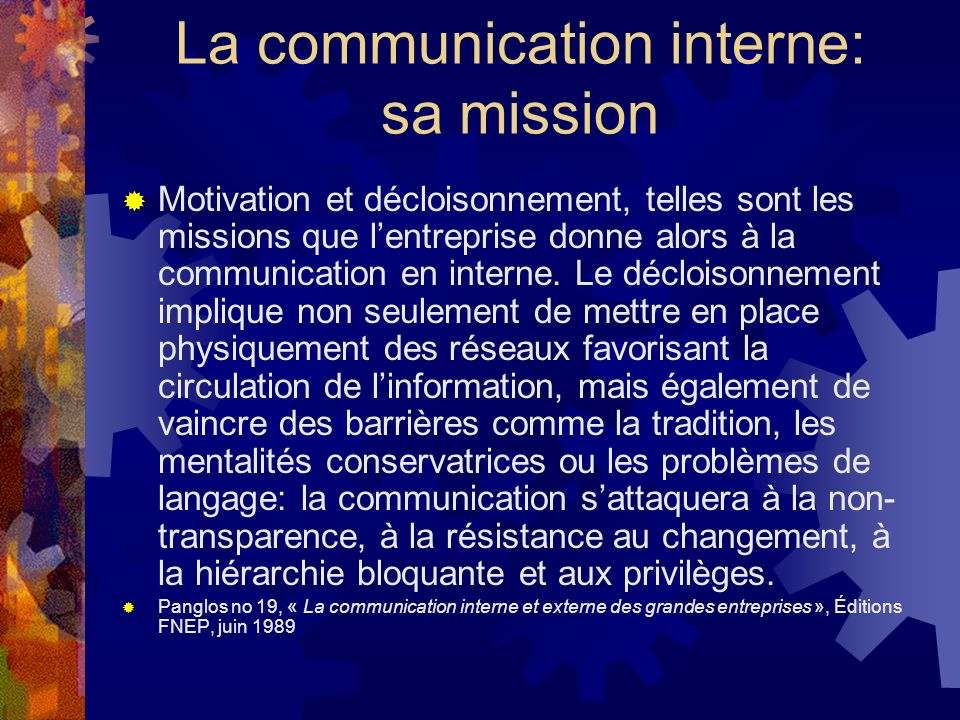 La communication interne: sa mission