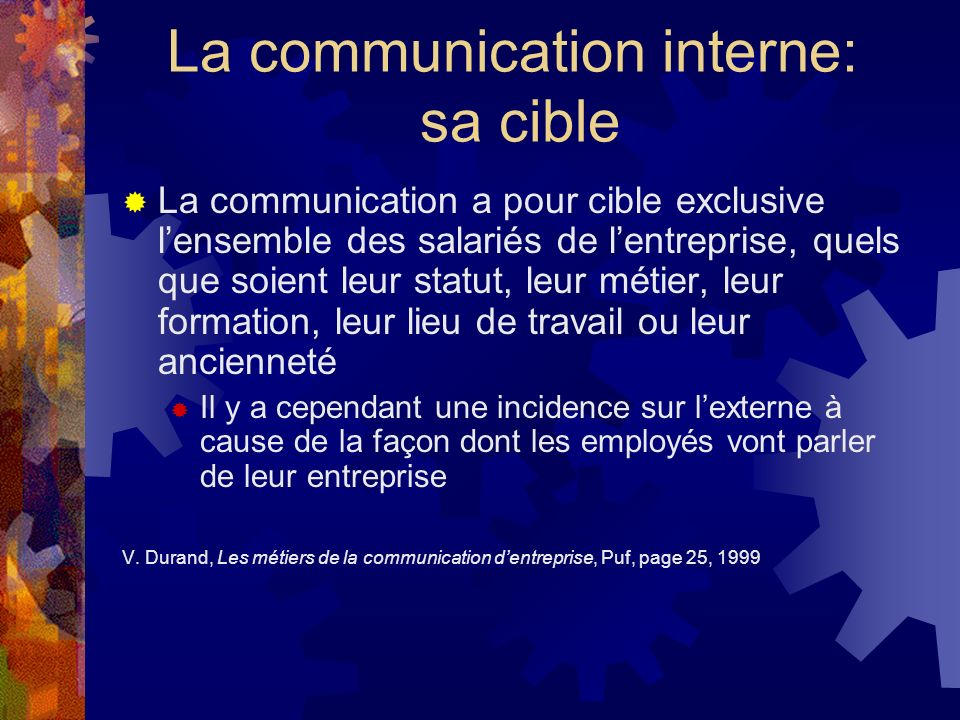La communication interne: sa cible