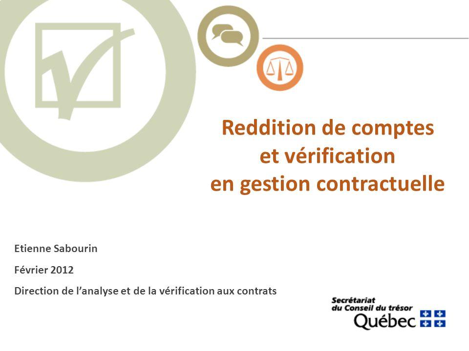Reddition de comptes et vérification en gestion contractuelle