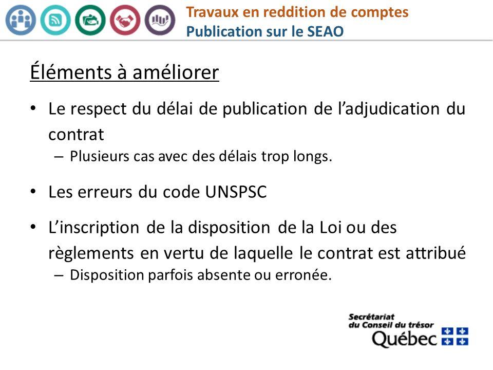 Travaux en reddition de comptes Publication sur le SEAO
