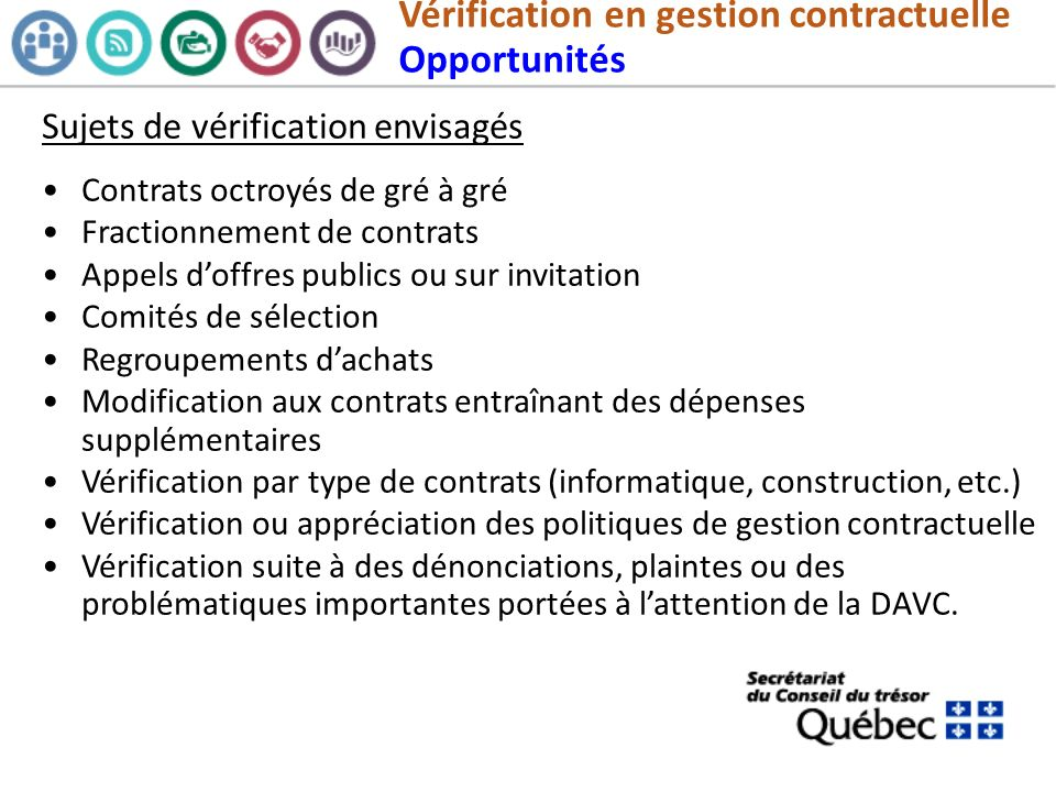 Vérification en gestion contractuelle Opportunités