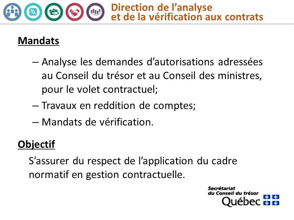 Direction de l'analyse et de la vérification aux contrats
