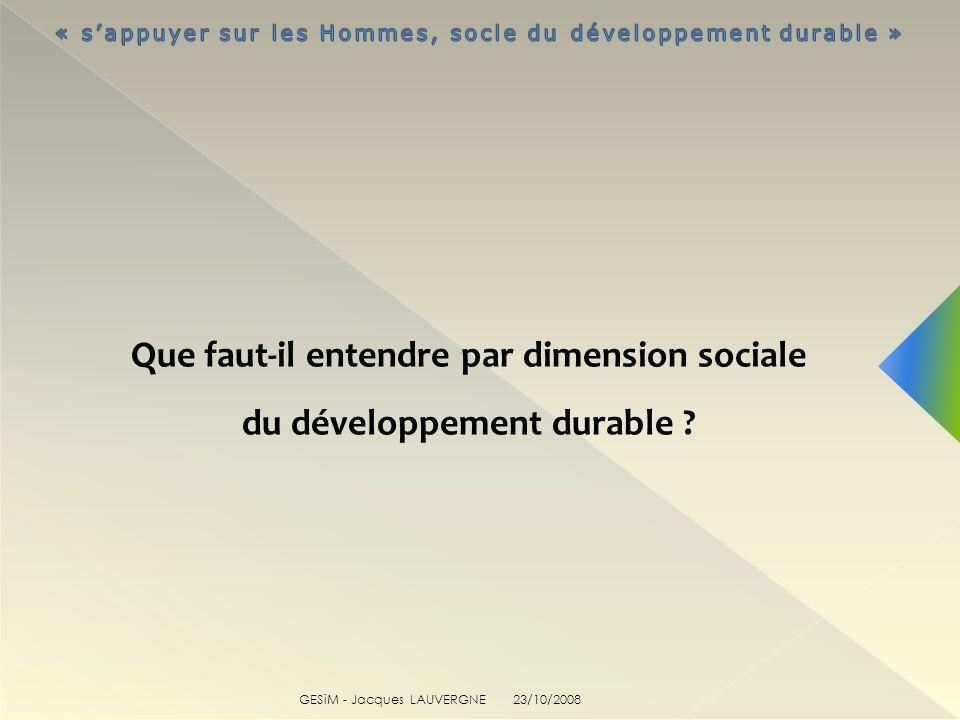 Que faut-il entendre par dimension sociale du développement durable