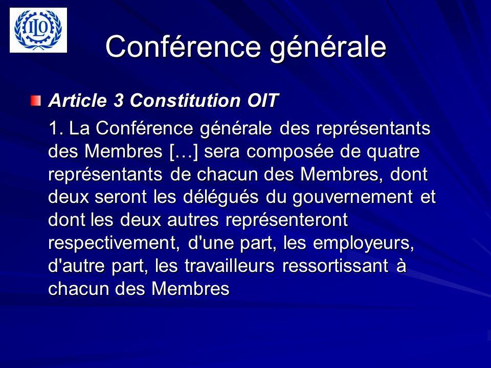 Conférence générale Article 3 Constitution OIT