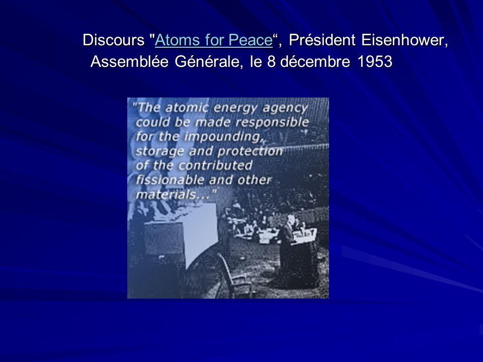 Discours Atoms for Peace , Président Eisenhower, Assemblée Générale, le 8 décembre 1953