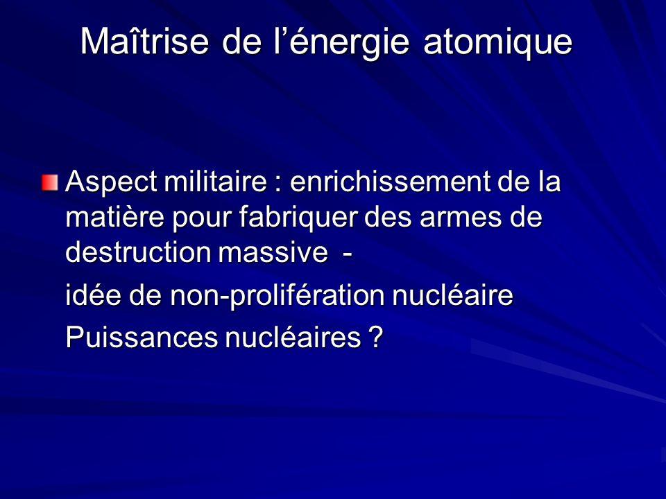 Maîtrise de l'énergie atomique