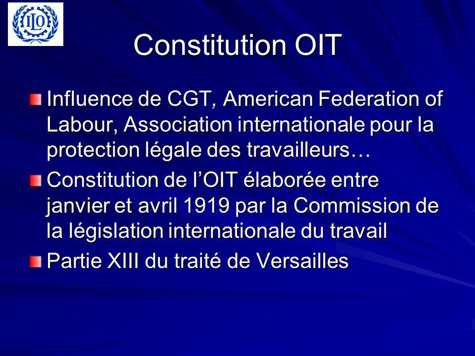 Constitution OIT Influence de CGT, American Federation of Labour, Association internationale pour la protection légale des travailleurs…