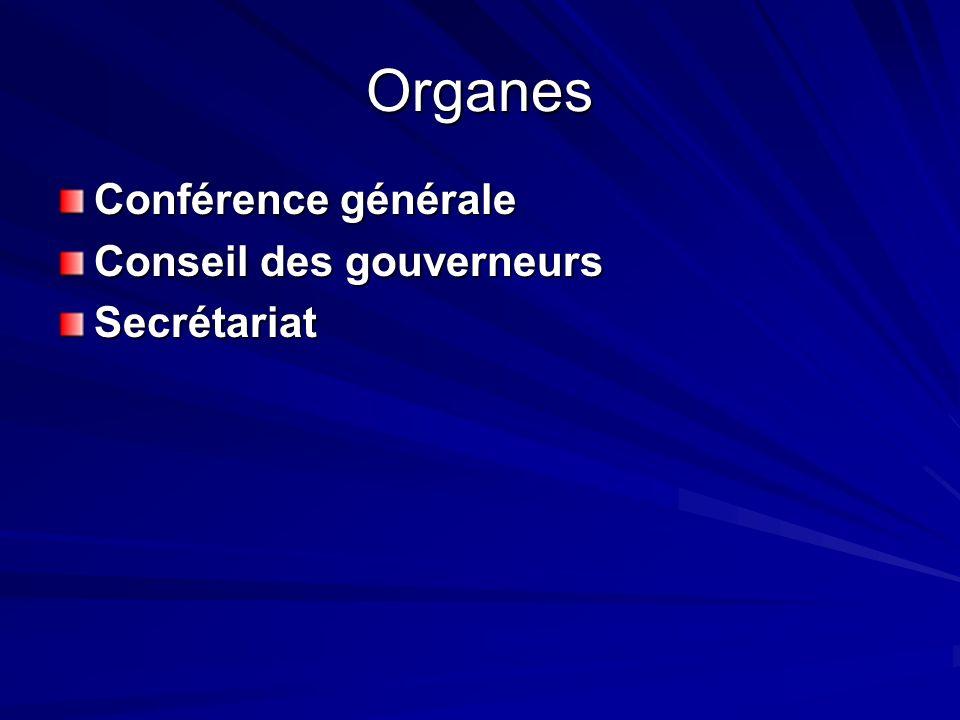 Organes Conférence générale Conseil des gouverneurs Secrétariat