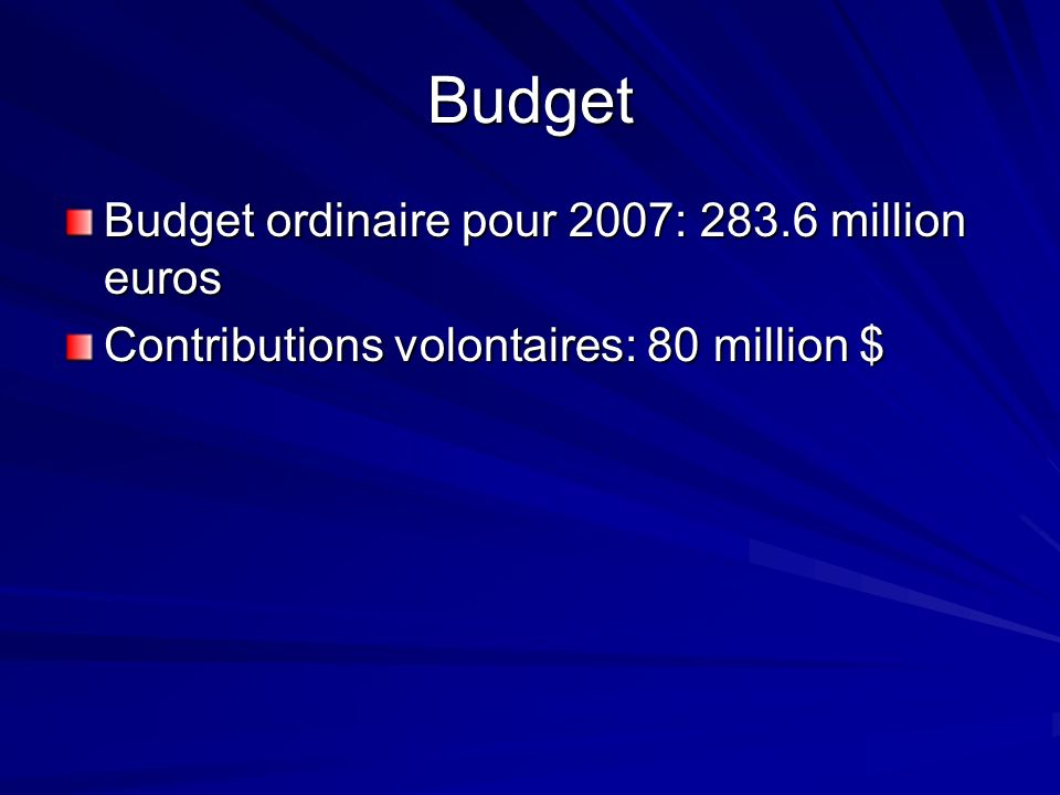 Budget Budget ordinaire pour 2007: 283.6 million euros