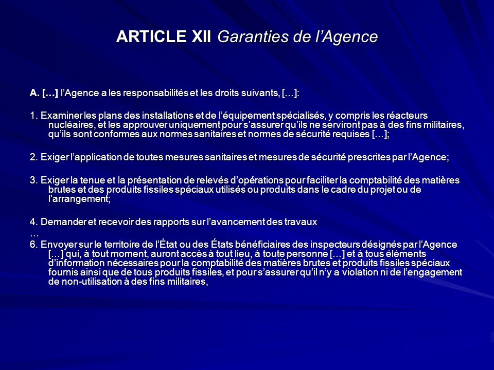 ARTICLE XII Garanties de l'Agence