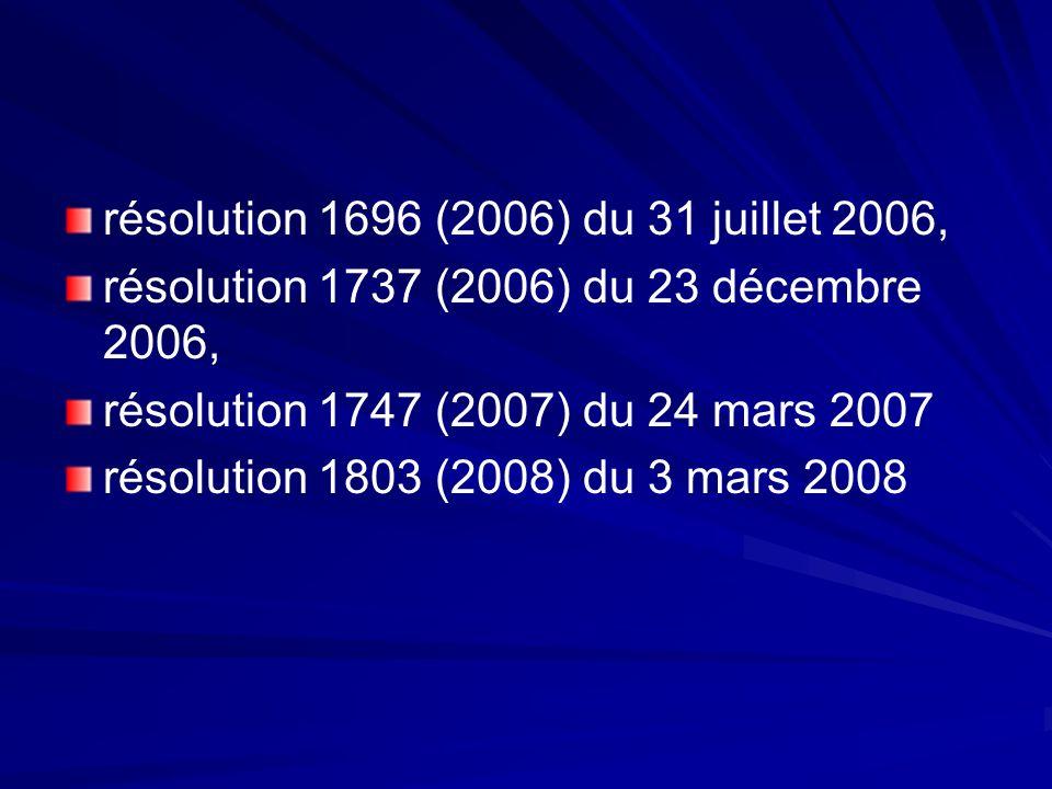 résolution 1696 (2006) du 31 juillet 2006,