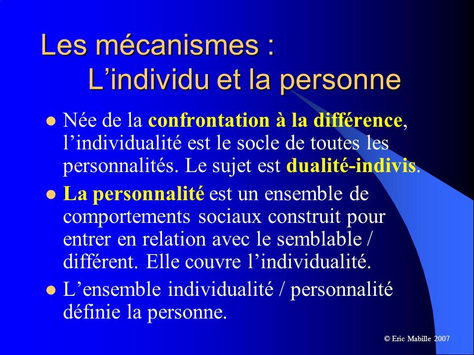 Les mécanismes : L'individu et la personne