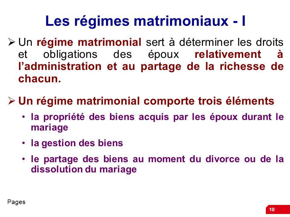 Les régimes matrimoniaux - I