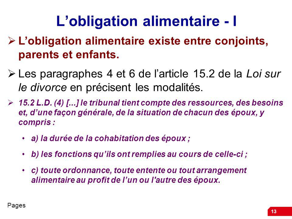 L'obligation alimentaire - I