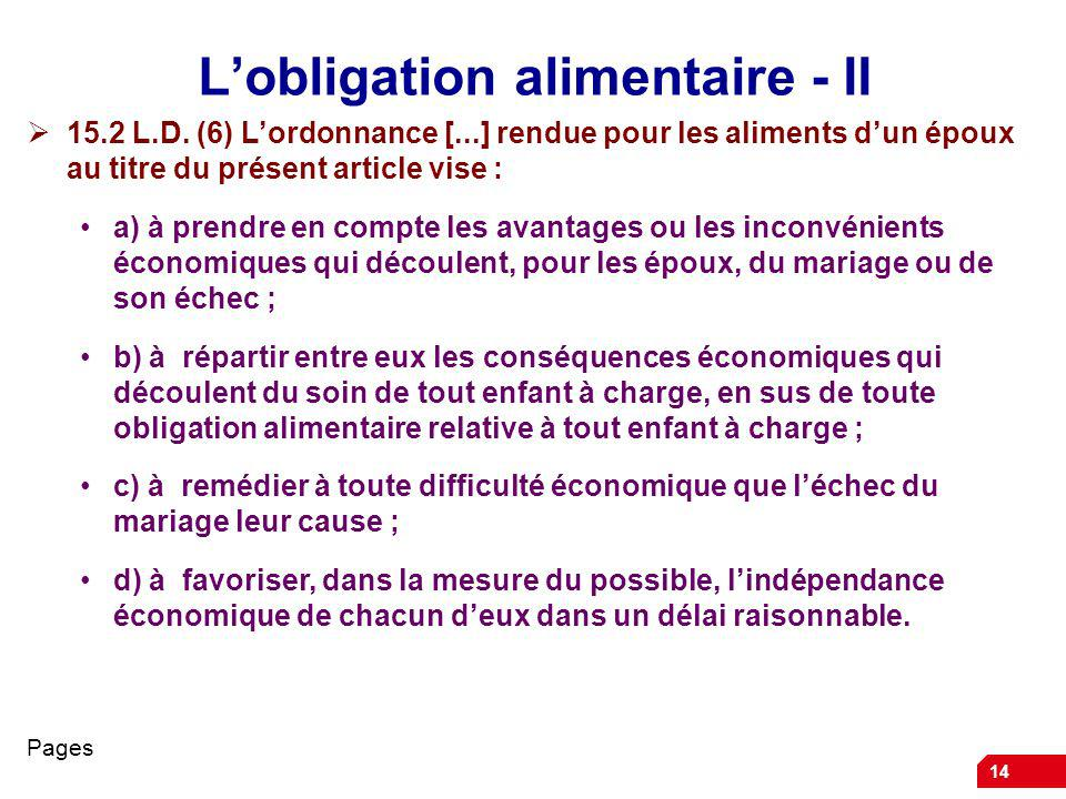 L'obligation alimentaire - II