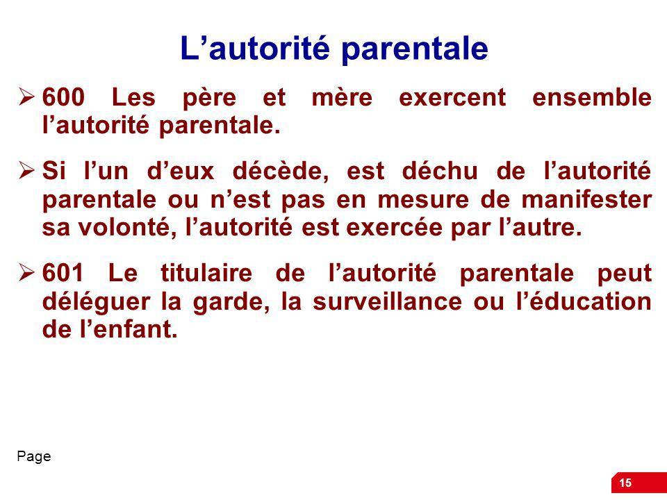 L'autorité parentale 600 Les père et mère exercent ensemble l'autorité parentale.