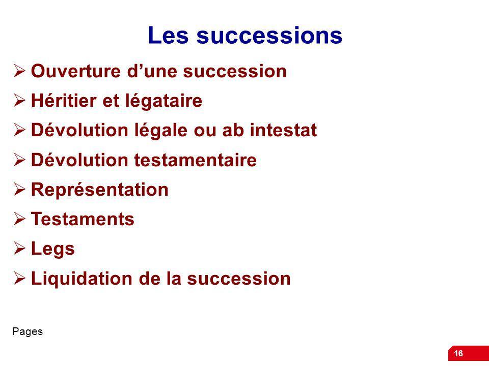 Les successions Ouverture d'une succession Héritier et légataire