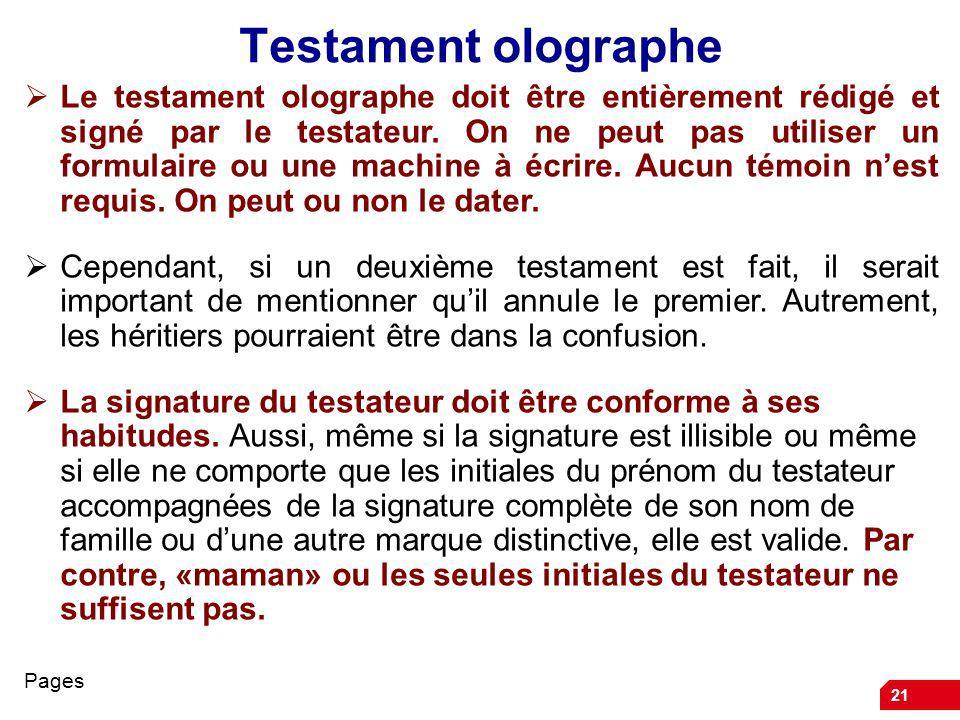 Testament olographe