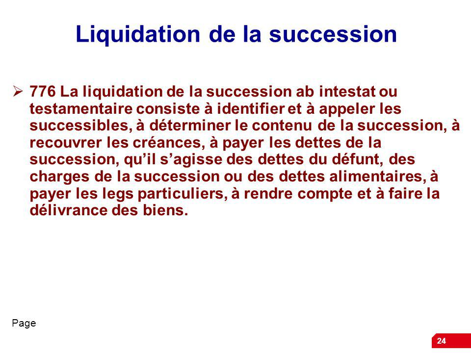 Liquidation de la succession