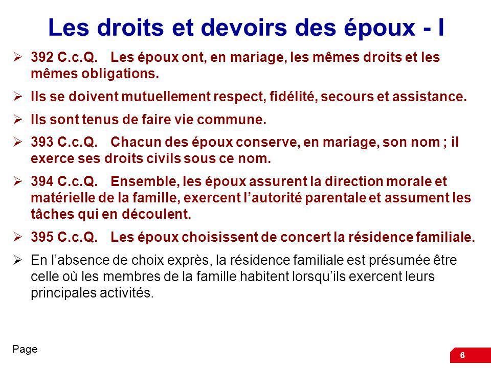 Les droits et devoirs des époux - I