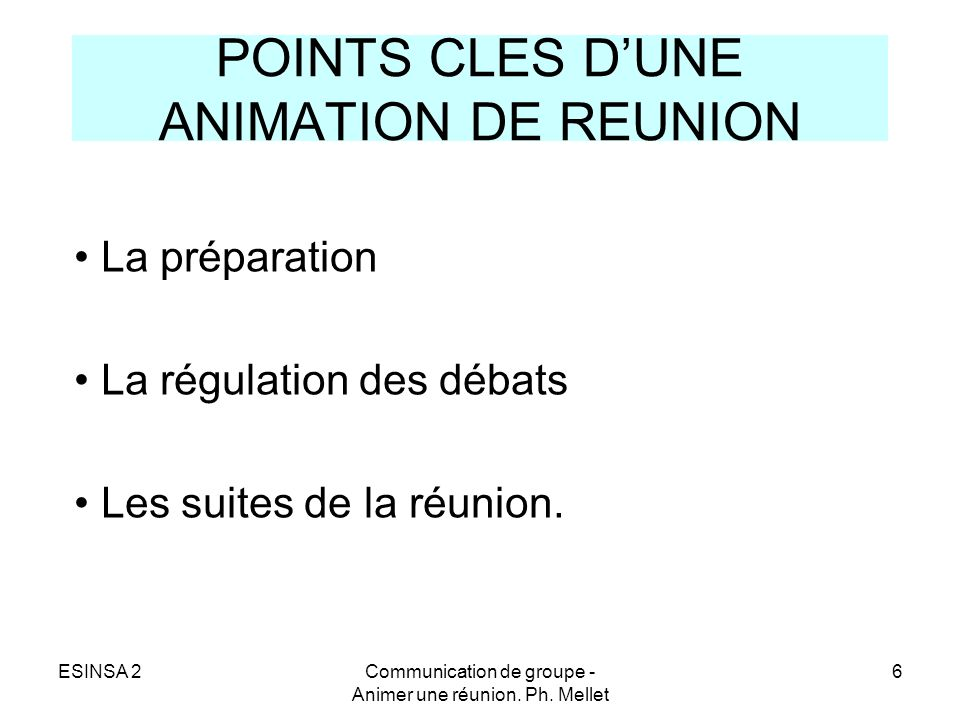 POINTS CLES D'UNE ANIMATION DE REUNION