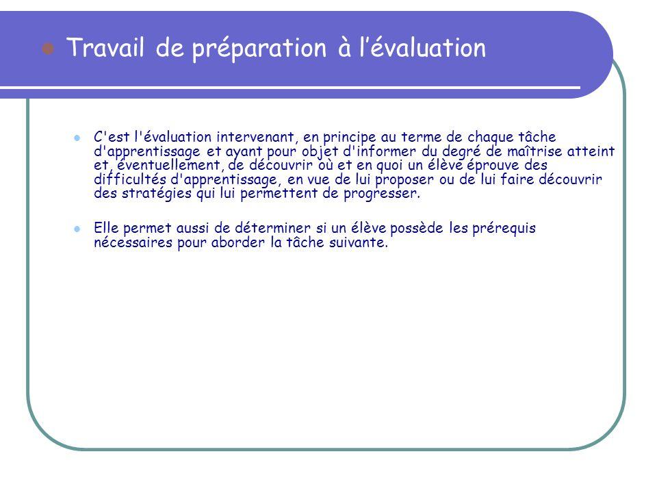 Travail de préparation à l'évaluation